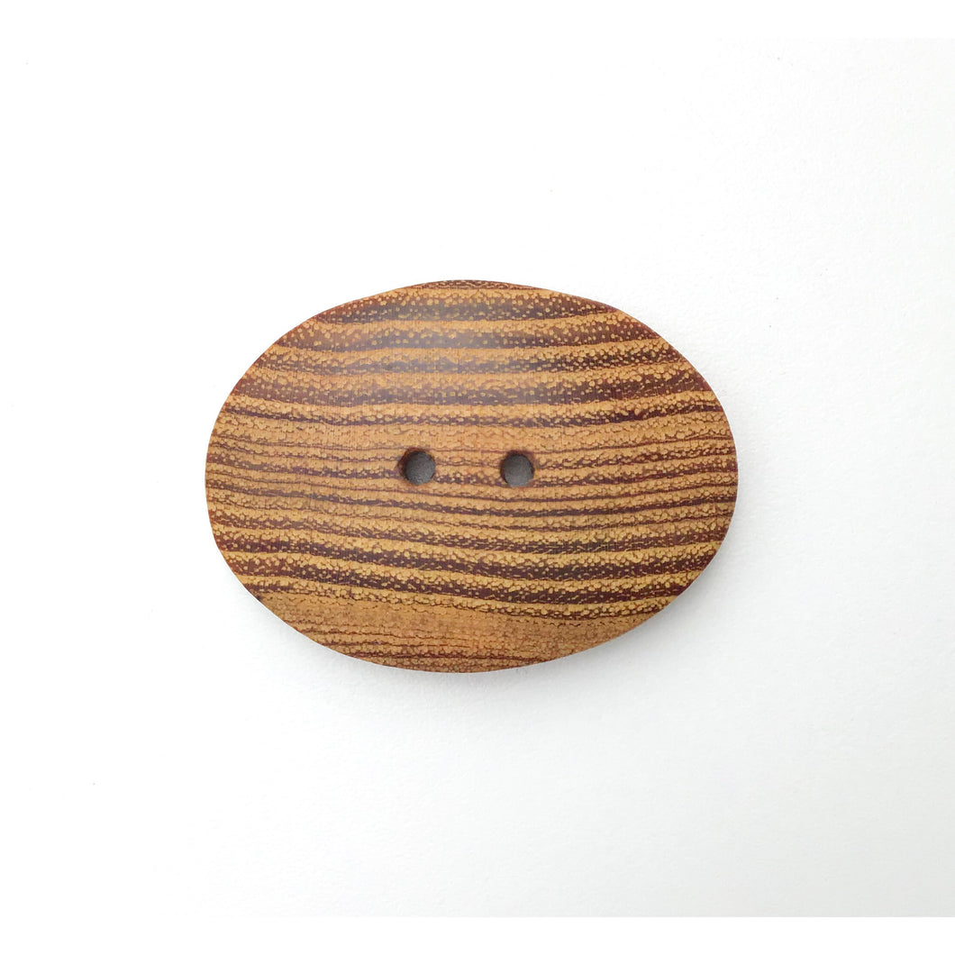 Oval Black Locust Wood Buttons - Large Wooden Button - 1 1/2