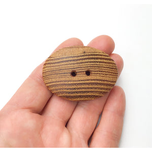 "Oval Black Locust Wood Buttons - Large Wooden Button - 1 1/2"" x 2"""