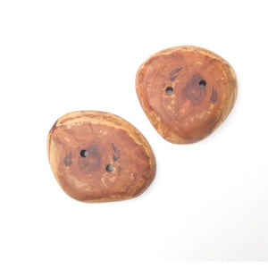 Apricot Wood Buttons - Large Wood Marbled Button - 1 1/2""
