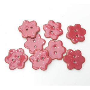 "Red Flower Buttons with White Speckles - Ceramic Flower Buttons - 7/8"" - 8 Pack"