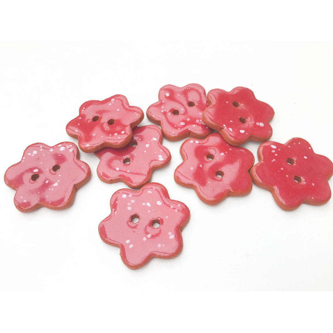 Red Flower Buttons with White Speckles - Ceramic Flower Buttons - 7/8