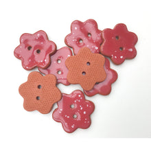 Load image into Gallery viewer, Red Flower Buttons with White Speckles - Ceramic Flower Buttons - 7/8""