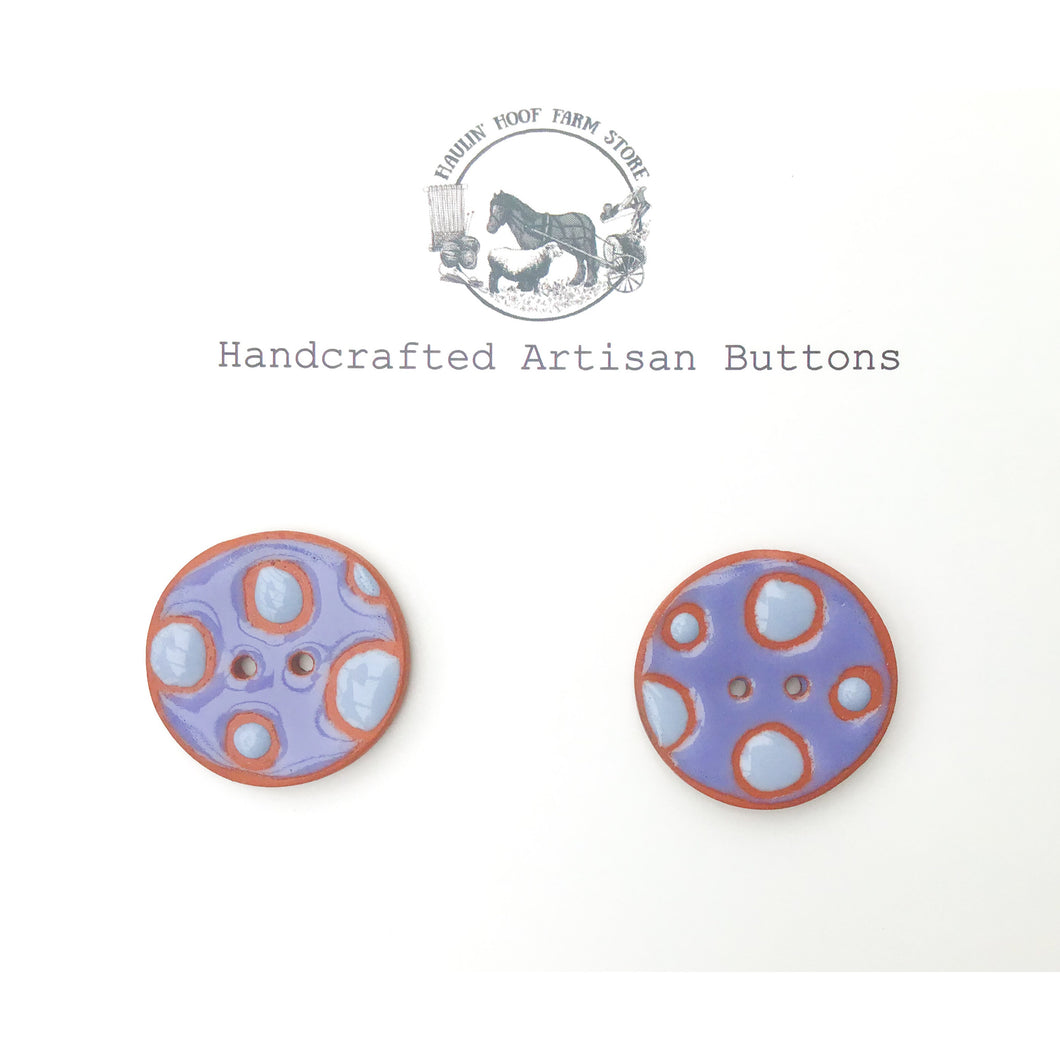 Purple Polka Dot Ceramic Buttons - Terracotta Clay Buttons - 1 1/16