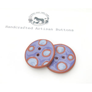 "Purple Polka Dot Ceramic Buttons - Terracotta Clay Buttons - 1 1/16"" - 2 Pack"