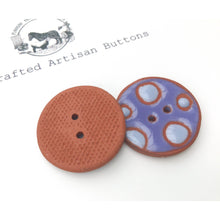 "Load image into Gallery viewer, Purple Polka Dot Ceramic Buttons - Terracotta Clay Buttons - 1 1/16"" - 2 Pack"