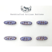 "Load image into Gallery viewer, Purple and White Polka Dot Toggle Buttons - Small Ceramic Toggle Buttons - 5/16"" x 1"" - 6 Pack"