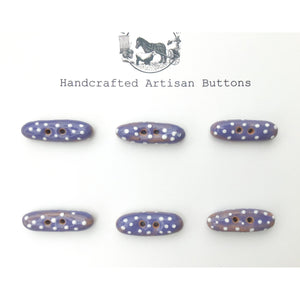 "Purple and White Polka Dot Toggle Buttons - Small Ceramic Toggle Buttons - 5/16"" x 1"" - 6 Pack"