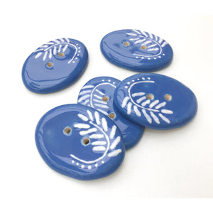 "Cerulean Blue Ceramic Buttons with White Design - Large Oval Button - 1"" x 1 3/8"""