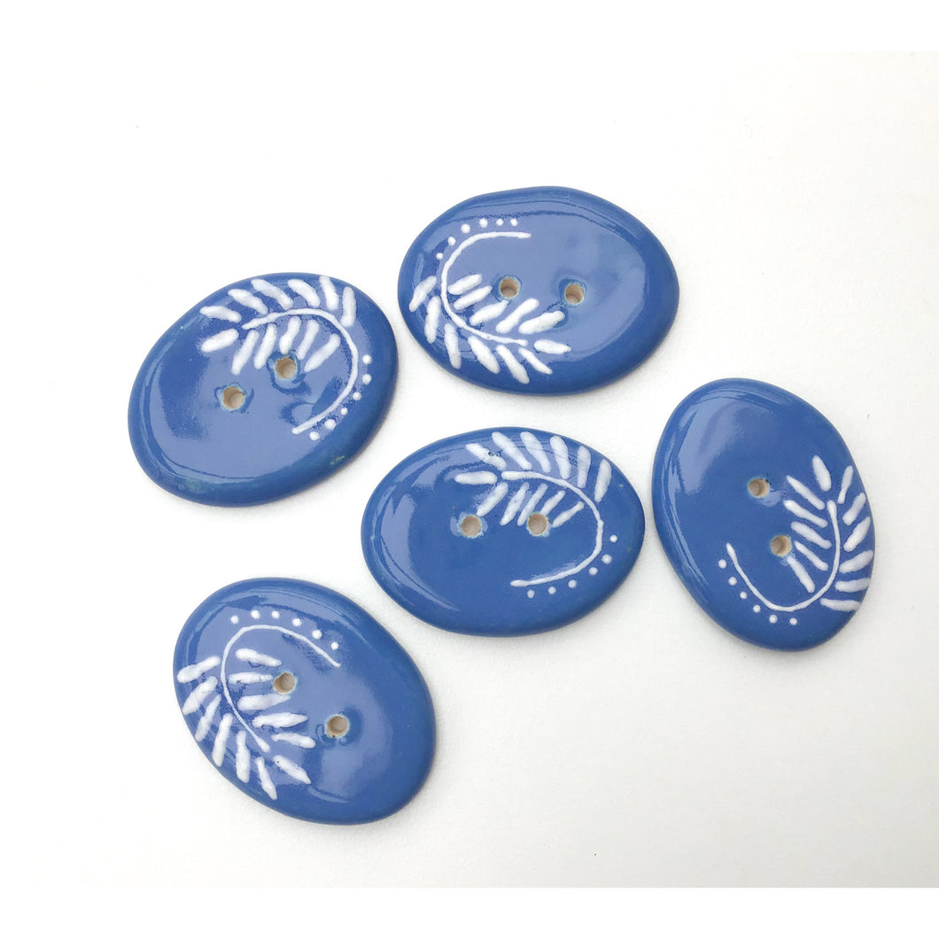 Cerulean Blue Ceramic Buttons with White Design - Large Oval Button - 1