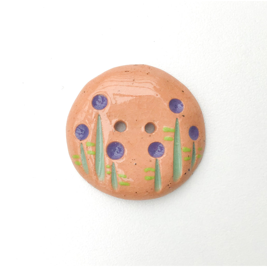 Purple and Green Ceramic Flower Button - Clay Flower Button - 1 1/16