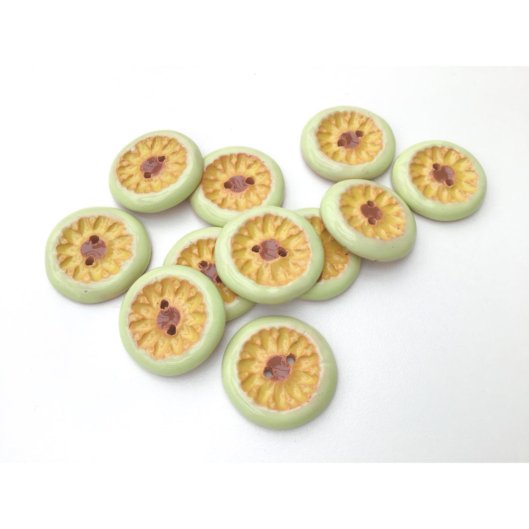Yellow Daisies Ceramic Buttons -  Ceramic Buttons Featuring Yellow Daisies and Light Green Trim - 7/8
