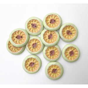 "Yellow Daisies Ceramic Buttons -  Ceramic Buttons Featuring Yellow Daisies and Light Green Trim - 7/8"" Buttons"