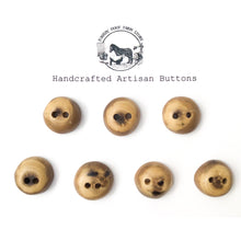 "Load image into Gallery viewer, Black Walnut Wood Buttons - Walnut Sap & Heartwood Buttons - 3/4"" - 7 Pack"