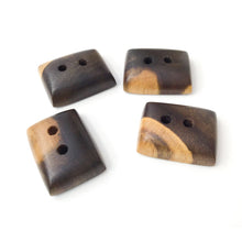 "Load image into Gallery viewer, Black Walnut Wood Buttons - Walnut Sap & Heartwood Buttons - 3/4"" X 1"" - 4 Pack"