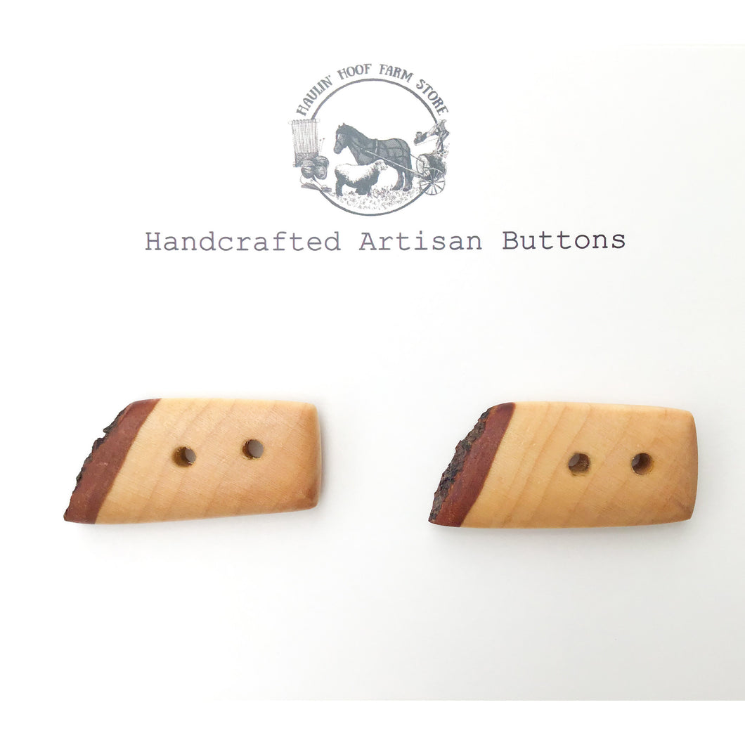 Live Edge Hard Maple Wood Buttons - Wooden Toggle Buttons - 3/4