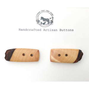 "Live Edge Hard Maple Wood Buttons - Wooden Toggle Buttons - 3/4"" x 1 5/8"" - 2 Pack"