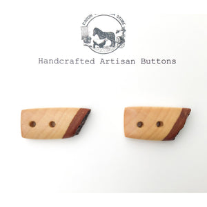 "Live Edge Hard Maple Wood Buttons - Wooden Toggle Buttons - 3/4"" x 1 1/4"" - 2 Pack"