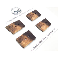 "Load image into Gallery viewer, Rustic Black Walnut Wood Buttons - Live Edge Black Walnut Buttons - 13/16"" x 1 1/8"" - 4 Pack"