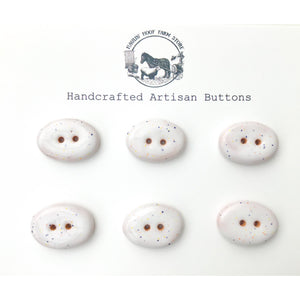 "Rounded Oval Ceramic Buttons - Speckled White Clay Buttons - 11/16"" x 15/16"" - 6 Pack"