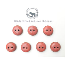 "Load image into Gallery viewer, Salmon Pink Ceramic Buttons - Terracotta Clay Buttons - Coral Colored Buttons - 3/4"" - 7 Pack"