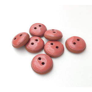 "Salmon Pink Ceramic Buttons - Terracotta Clay Buttons - Coral Colored Buttons - 3/4"" - 7 Pack"