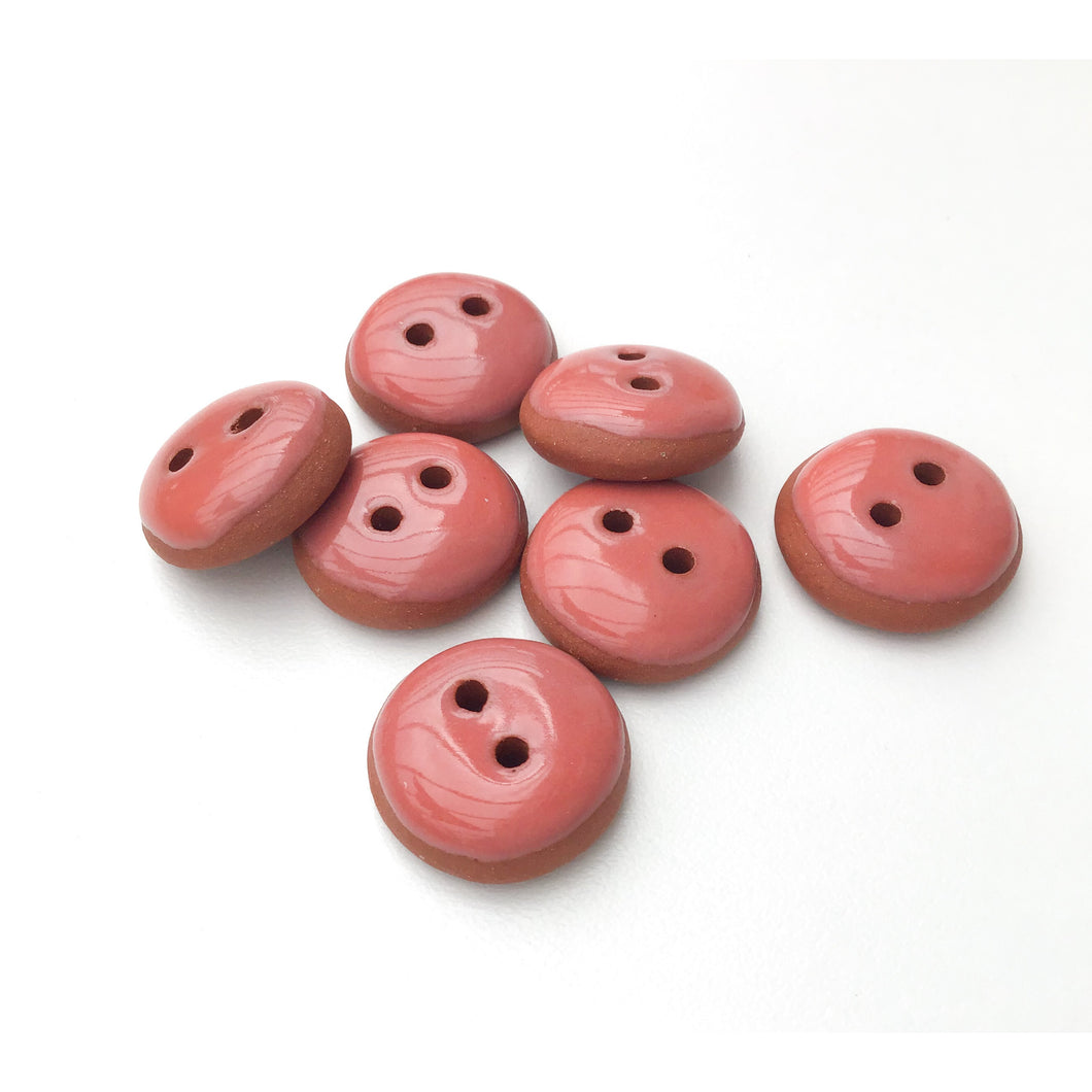 Salmon Pink Ceramic Buttons - Terracotta Clay Buttons - Coral Colored Buttons - 3/4