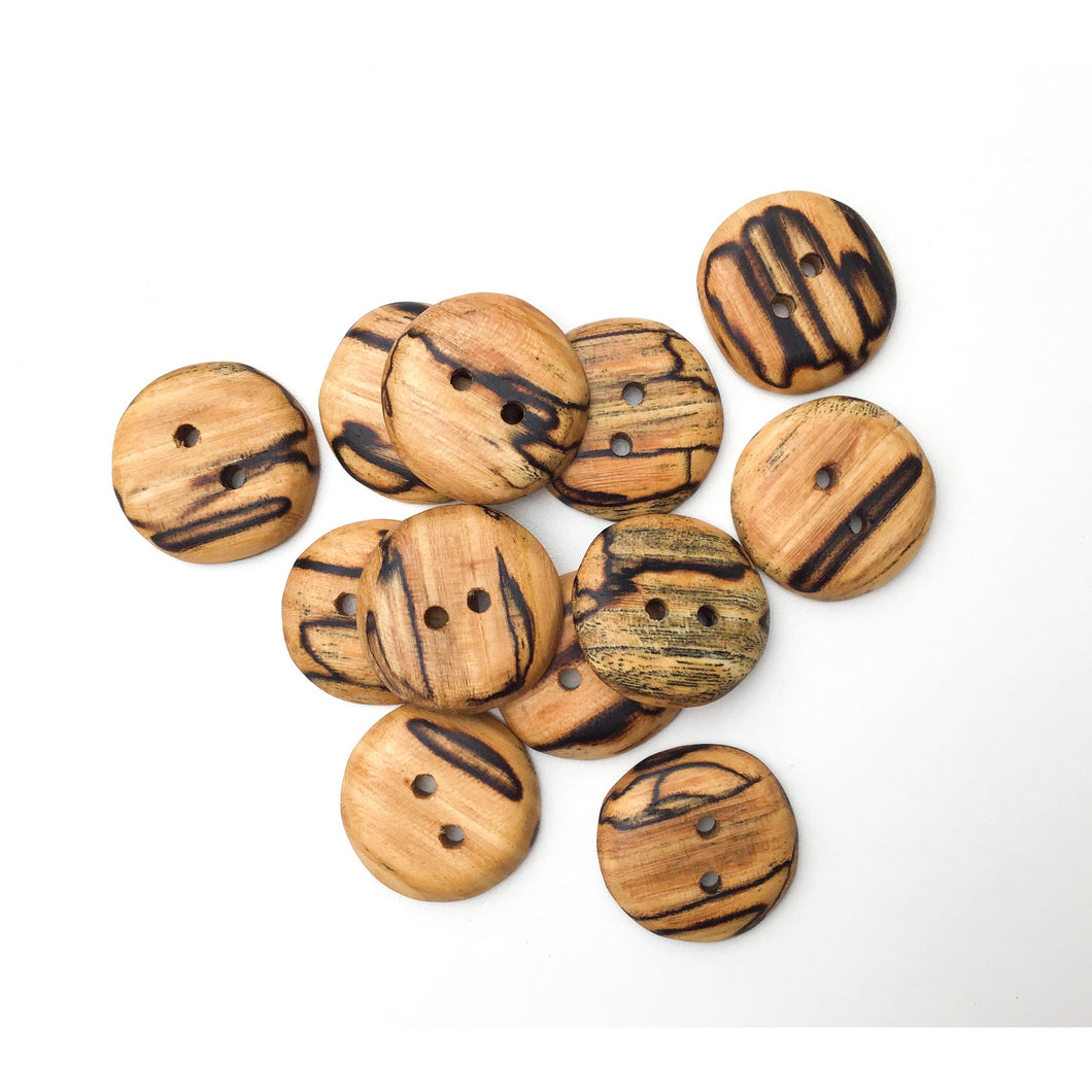 Spalted American Elm Buttons - Handcrafted Wood Buttons - 1 1/8