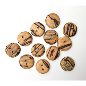 Spalted American Elm Buttons - Handcrafted Wood Buttons - 1 1/8""