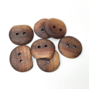 Black Walnut Wood Buttons - Live Edge Black Walnut Buttons - 1 1/8""