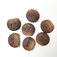 Load image into Gallery viewer, Black Walnut Wood Buttons - Live Edge Black Walnut Buttons - 1 1/8""