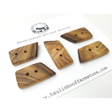 "Load image into Gallery viewer, Black Locust Wood Buttons - Live Edge Wood Buttons - Wood Toggle Buttons - 3/4"" x 1 1/2"" - 5 Pack"