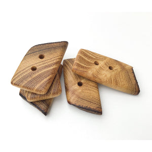 "Black Locust Wood Buttons - Live Edge Wood Buttons - Wood Toggle Buttons - 3/4"" x 1 1/2"" - 5 Pack"