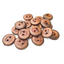 "Load image into Gallery viewer, Apple Wood Buttons - Live Edge Apple Wood Buttons - 3/4"" to 7/8"" Round - 6 Pack"
