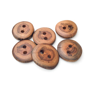 "Apple Wood Buttons - Live Edge Apple Wood Buttons - 3/4"" to 7/8"" Round - 6 Pack"