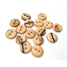 Load image into Gallery viewer, Spalted American Elm Buttons - Handcrafted Wood Buttons - 3/4""