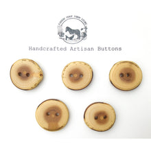 "Load image into Gallery viewer, Mulberry Wood Buttons - Live Edge Mulberry Wood Buttons - 1"" Round - 5 Pack"