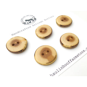 "Mulberry Wood Buttons - Live Edge Mulberry Wood Buttons - 1"" Round - 5 Pack"