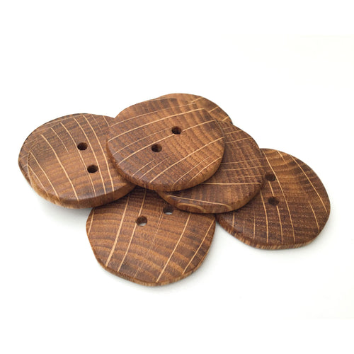Oak Wood Buttons - Oak Buttons with Bright Rays - 1 3/8
