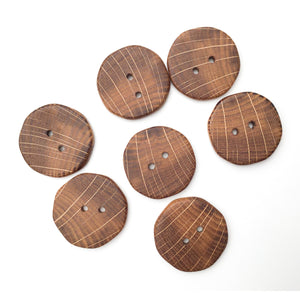 Oak Wood Buttons - Oak Buttons with Bright Rays - 1 3/8""