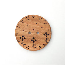Load image into Gallery viewer, Extra Large Cherry Wood Button - Decorative Flower Button - Pyrography - 1 13/16""