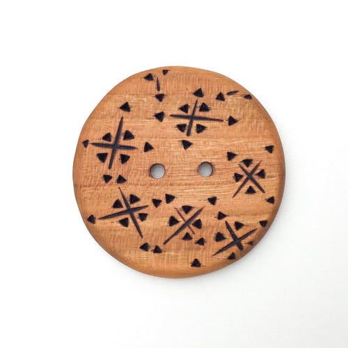 Extra Large Cherry Wood Button - Decorative Wood Button - Pyrography - 1 13/16