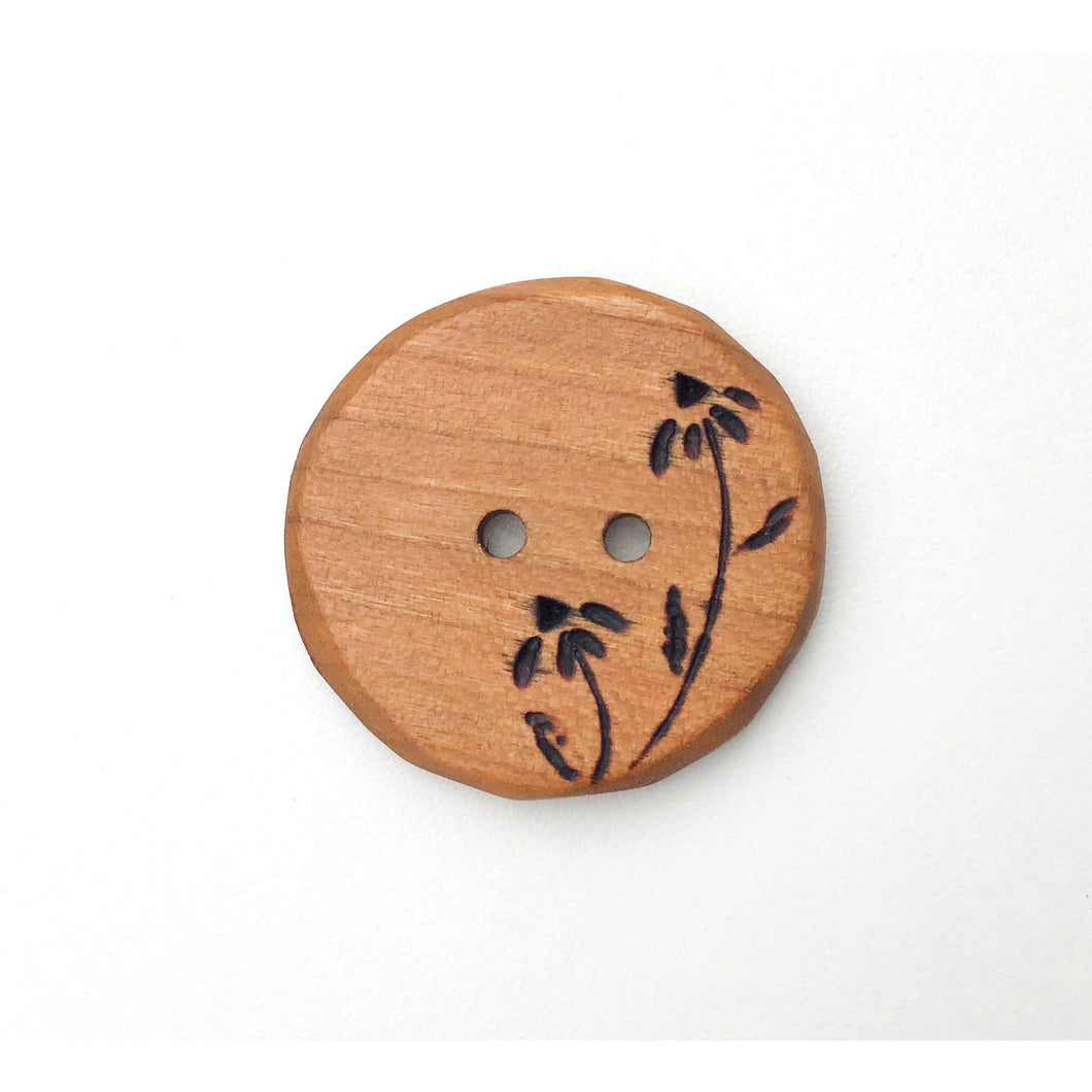 Large Cherry Wood Button - Decorative Flower Button - Pyrography - 1 3/8