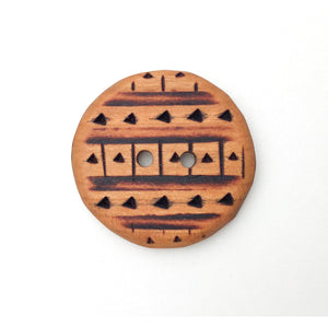 Large Cherry Wood Button - Decorative Wood Button - Pyrography - 1 3/8""