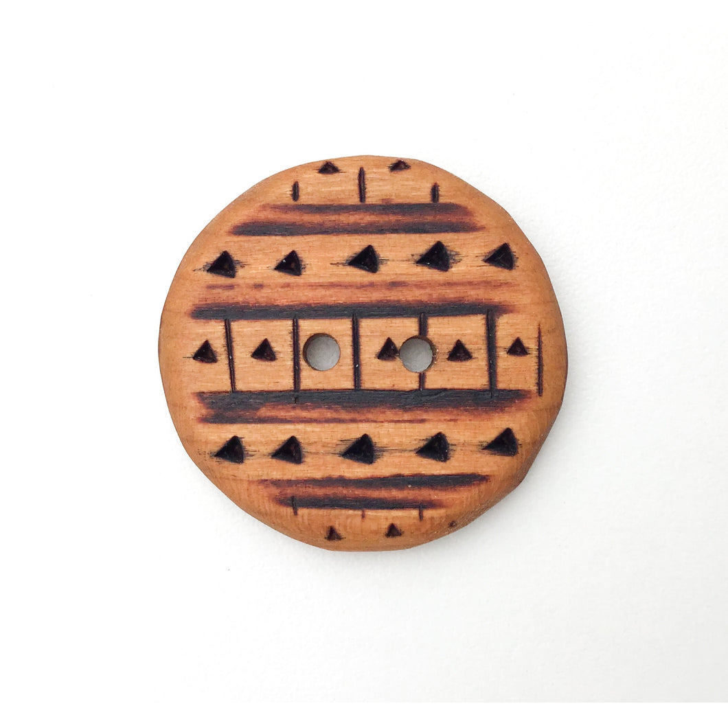Large Cherry Wood Button - Decorative Wood Button - Pyrography - 1 3/8