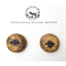 "Load image into Gallery viewer, Spalted Black Walnut Buttons - Black Walnut Wood Buttons - 1 1/4"" - 2 Pack"