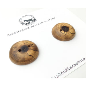 "Spalted Black Walnut Buttons - Black Walnut Wood Buttons - 1 1/4"" - 2 Pack"