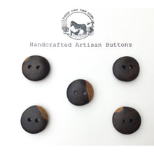 "Load image into Gallery viewer, Black Walnut Wood Buttons - Black Walnut Sap & Heartwood Buttons - 3/4"" - 5 Pack"