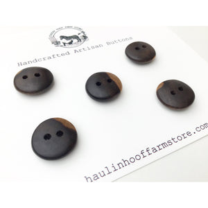 "Black Walnut Wood Buttons - Black Walnut Sap & Heartwood Buttons - 3/4"" - 5 Pack"
