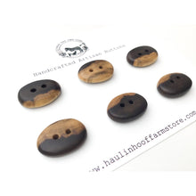 "Load image into Gallery viewer, Black Walnut Wood Buttons - Oval Black Walnut Sap & Heartwood Buttons - 11/16"" x 1"" - 6 Pack"