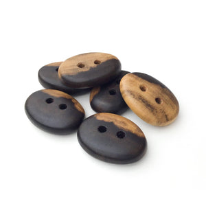 "Black Walnut Wood Buttons - Oval Black Walnut Sap & Heartwood Buttons - 11/16"" x 1"" - 6 Pack"
